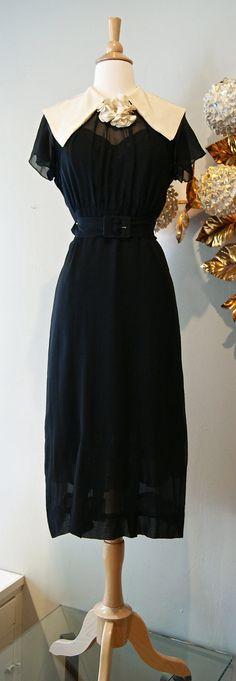RESERVED 30s Dress // Vintage Silk Chiffon Dress by xtabayvintage, $248.00