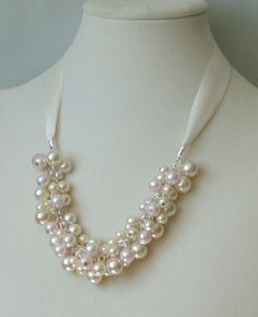BRIDESMAID GIFT Ivory Pink & Champagne Pearl WEDDing by DYEnamite, $19.50