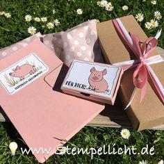 Glücksschweinchen Box ohne Kleben und Verpackung zum Geburtstag mit Stampin´Up