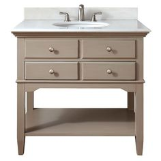 Pegasus Cannes 36 in. Vanity in Distressed Grey with Marble Vanity Top in White with White Basin-10702-VS37J-GR at The Home Depot