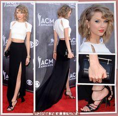 white cut-out crop top high-waist black skirt with thigh-high slit Taylor Swift, ACM Awards 2014 #wishlist