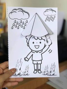 Rain Crafts, K Crafts, Kids Fall Crafts, Easy Paper Crafts, Cute Crafts, Art Drawings For Kids, Art Drawings Sketches Simple, Fall Preschool Activities, Preschool Crafts