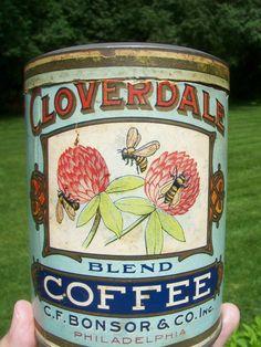 RARE! OLD CLOVERDALE 1 LB COFFEE TIN - C.F. BONSOR & CO INC PHILADELPHIA PA   #CLOVERDALEBLENDCOFFEE