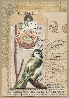Ideas for vintage cards handmade ideas mixed media Art Journal Pages, Journal Cards, Junk Journal, Journal Paper, Art Journals, Collages, Collage Art, Canvas Collage, Vintage Cards