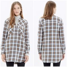 Madewell tunic Zip-Front Popover Tunic in Moss Point Plaid.  A versatile popover with a zip front. Wear it as a cozy tunic over a pair of jeans or over tights as a makeshift dress.   •Cotton. •Machine wash. •Size XXS •Like new condition Madewell Tops Tunics