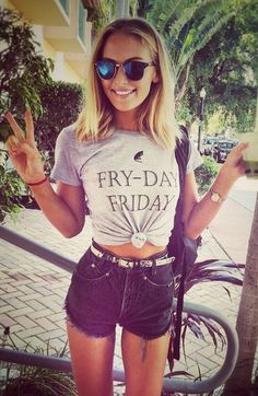 We love the soft classic fit Fry-day Friday shirt that our girl is rocking! Get yours now and come celebrate Fry-day Friday with us!