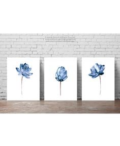 Lotus Flower Illustration Water Flowers Print Floral Painting, Abstract Blue Flower Poster, Watercolor Wall Hanging Navy Wall Decor Set of 3 by ColorWatercolor on Etsy