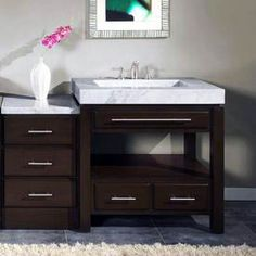 Silkroad Exclusive Dark Espresso Single Sink Bathroom Vanity With Carrara White Natural Marble Top Bathroom Sink Storage, Bathroom Spa, Modern Bathroom, Bathroom Ideas, Bathroom Cabinets, Restroom Ideas, Small Bathroom, Master Bathroom, Single Sink Bathroom Vanity