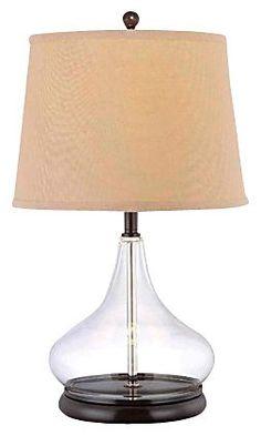 Table Lamp, Dark Bronze w/ Light Beige Shade #bedroom