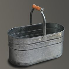 """""""Housekeeper's Bucket"""" - a cool /shabby chic / industrial / whatevs solution to tidy away all your gross cleaning products in a bathroom with zero storage."""