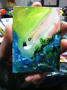 AWESOME ACEO ATC ORIGINAL PAINTING ONE OF A KIND ART COLLECTION CHECK OUT OTHER SELLER ITEMS :) ty all i love you :D
