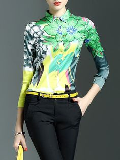 Shop Blouses - Green Shirt Collar Floral Long Sleeve Blouse online. Discover unique designers fashion at StyleWe.com.