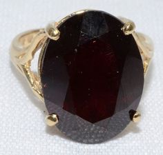 Vintage Deep Red Garnet Ring Set in 14K Yellow by LadyLibertyGold