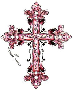 pink cross tattoo very detailed by Denise A. Wells find her on facebook