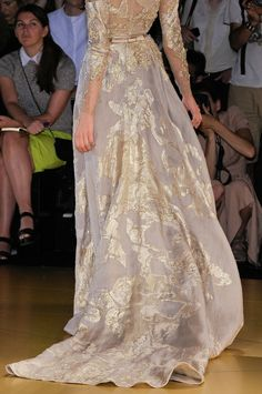 Gold grey wedding dress.