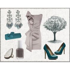 Silver Dress and beautiful sea blue accessories.  Evening / party dress/ date night/ cocktail