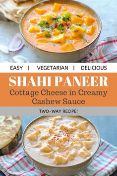 Shahi paneer or cashew paneer made two ways. A creamy, rich and mellow gravy with soft malai paneer cubes. Serve with warm naan for a tasty meal! Indian Paneer Recipes, North Indian Recipes, Indian Food Recipes, Vegetarian Chicken, High Protein Vegetarian Recipes, Shahi Paneer Recipe, Cottage Cheese Recipes, Paneer Dishes, Cashew Sauce