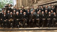 Probably the most intelligent picture ever taken, the 1927 Solvay conference featuring Einstein, Dirac, Pauli, Marie Curie, Bohr, Schrodinger and many more of the scientific greats.