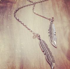 Baubles & Bobbies Open-Face Feather Necklace with Grey Amethyst