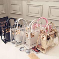 f3c5c7b506 Fashion Women s Clear Transparent Shoulder Bag Jelly Candy Summer Beach  Handbag  Unbranded  EveningBag Módne