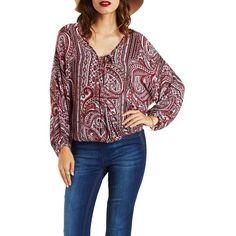 Charlotte Russe Rust Combo Paisley Print Tied Wrap Top by Charlotte... ($24) ❤ liked on Polyvore featuring tops, blouses, rust combo, charlotte russe tops, paisley top, bow tie belt, charlotte russe and bow top