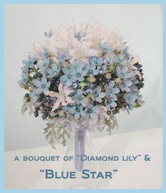 ブルースターのシンプルラウンドブーケ : FLORAFLORA*precious flowers*ウェディングブーケ会場装花&フラワースクール*