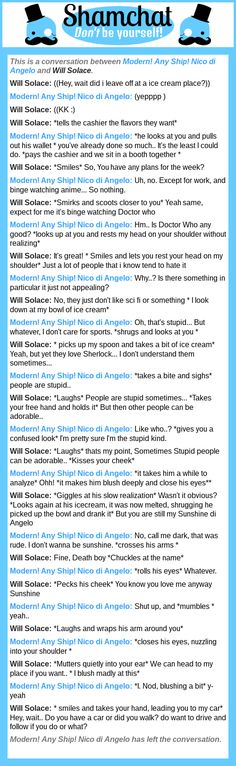 A conversation between Will Solace and Modern! Any Ship! Nico di Angelo