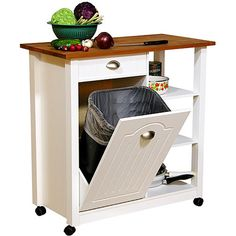 Butcher Block Basic Kitchen Cart  I love this design. We had this / Sorta in our OLD trailor, I love it.. It hid the trash can in the cabinet and I loved it. I plan to have it in the new place too.
