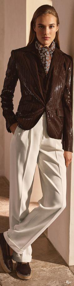 Fashion Brand, High Fashion, Womens Fashion, Fashion Design, Brown Suits, Brown Outfit, Ralph Lauren Collection, Lauren Brown, Wide Pants