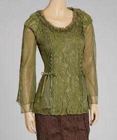Pretty Angel Green Lace Linen-Blend Top | zulily