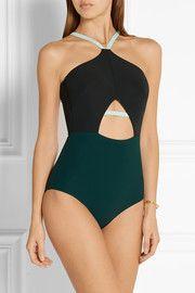 Warren cutout color-block halterneck swimsuit