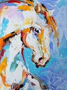 Colorful Palette Knife Horse Painting by Texas Artist Laurie Pace -- Laurie Justus Pace