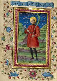 Gualenghi-d'Este Hours  Saint Ossanus  	      Guglielmo Giraldi  Italian, Ferrara, about 1469  Tempera colors, gold paint, gold leaf, and ink on parchment  4 1/4 x 3 1/8 in.  MS. LUDWIG IX 13, FOL. 197V