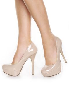 Jessica Simpson nude leather & black patent heels | Black patent ...