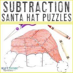 SUBTRACTION Santa Hat Puzzles - Christmas Mystery Math Picture Activity | 1st, 2nd, 3rd grade, Activities, Basic Operations, Christmas/ Chanukah/ Kwanzaa, Fun Stuff, Homeschool, Math, Math Centers