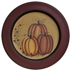 Fall Pumpkins Plate  sc 1 st  Pinterest & Primitive Happy Fall Yu0027all Decorative Plate Pumpkin | Happy fall ...