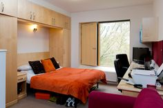 Mountain Halls Studio flat: each room has a double and single wardrobe, a large work space and shelves. Single Wardrobe, Mountain, Study, Shelves, Space, Bed, Room, Furniture, Home Decor