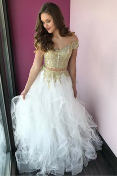 2018 Two Piece Gold Long Prom Dress, Princess Off the Shoulder Two Piece Gold and White Tulle Long Party Dress