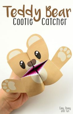 Teddy Bear Cootie Catcher – Origami for Kids. Fun craft idea to go with a bear themed book with kids.
