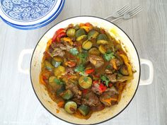 My Culinary Curriculum: Tajine d'agneau aux poivrons (Lamb tajine with pep...