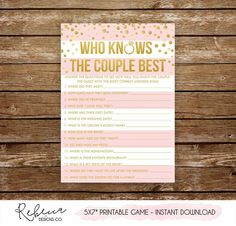 Who knows the couple best printable bridal shower game printable  bachelorette game bachelorette party game co ed game couples game 251 c253f8a50cc5
