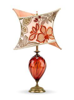 Lola Lamp. Unique crisscross silk lamp shade with handblown glass. Beautiful!