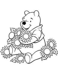 Winnie The Pooh Love Flower Coloring Page