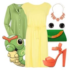 010: Caterpie by waywardfandoms on Polyvore featuring polyvore fashion style Dorothy Perkins Blair Charlotte Russe Jardin clothing Pokemon