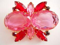 JulianaStyle Brooch Pink Red Rhinestone Vintage by RenaissanceFair, $39.50