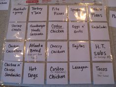 "Favorite meal planner. With ingredients on the back for grocery shopping list.  I only plan 5 meals a week anyway...leftovers on Sunday and ""date night - one on one interview with mom or dad"" (the rest of the family gets take out or delivery) on Friday."