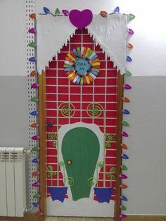 Decoração de porta de natal.