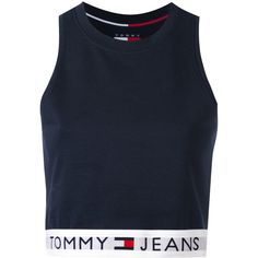 Tommy Jeans cropped tank top ($71) ❤ liked on Polyvore featuring tops, blue, tommy hilfiger, tommy hilfiger top, blue crop top, blue top and cropped tops