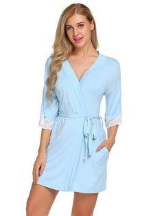 dd78cb4793 Sleepwear Robe Casual Cotton Bathrobe Belt Elegant Bathroom Spa Robe! robes