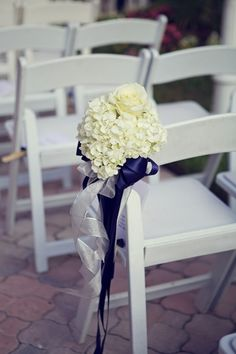 White Hydrangea Wedding Ceremony Flowers with Navy Blue Ribbon - Navy Blue, Silver & White St. Pete Beach Wedding - Don CeSar - St. Petersburg, FL Wedding Photographer Reign 7 Studios